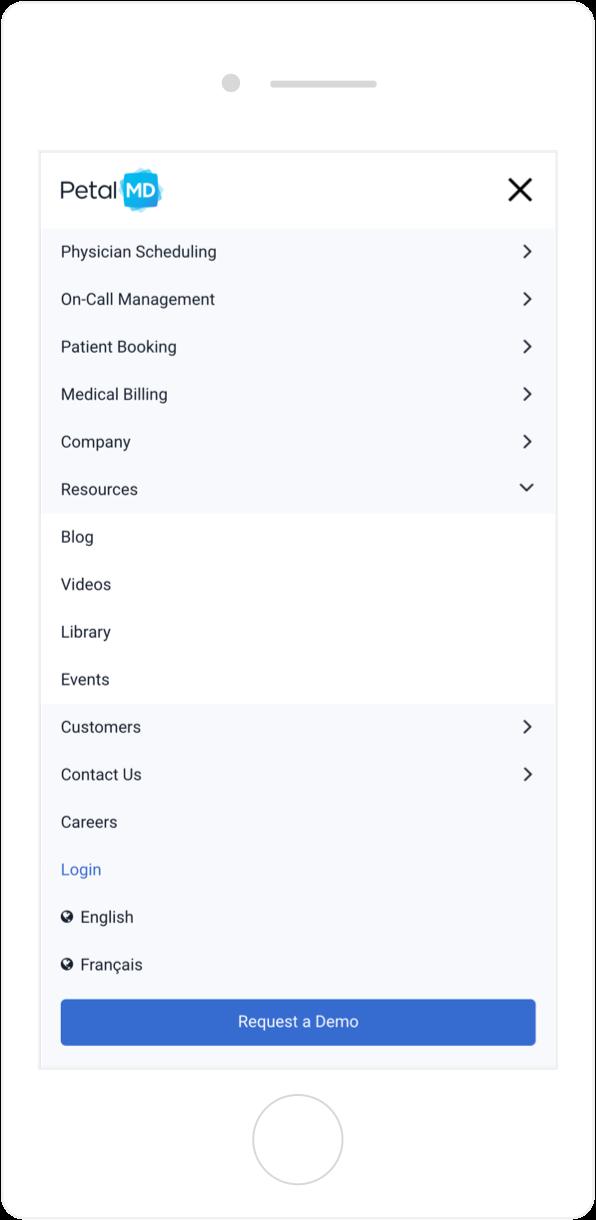 PetalMD intuitive site navigation on mobile 1