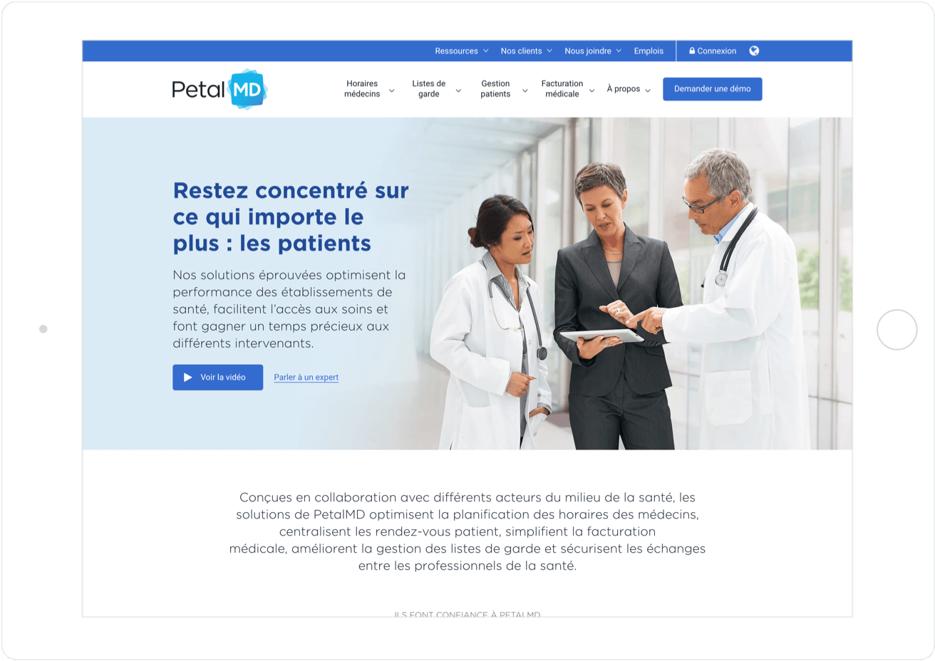 PetalMD bilingual website experience