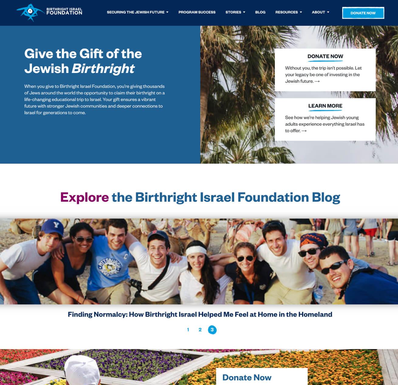 Birthright Israel Foundation Cause Highlighted on Website