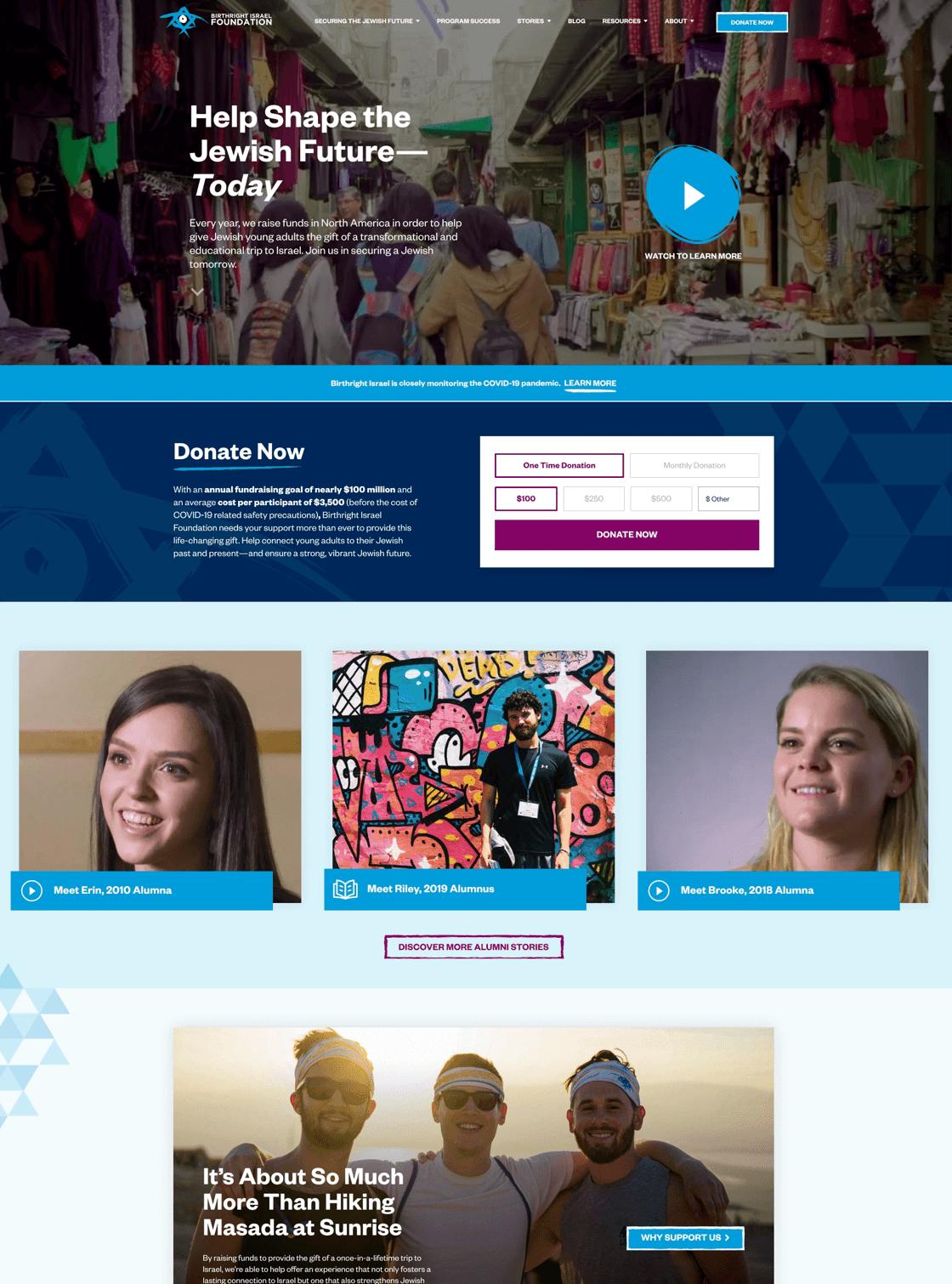 Birthright Israel Foundation Website Desktop View