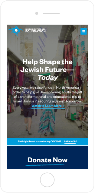 Birthright Israel Foundation Website Mobile View