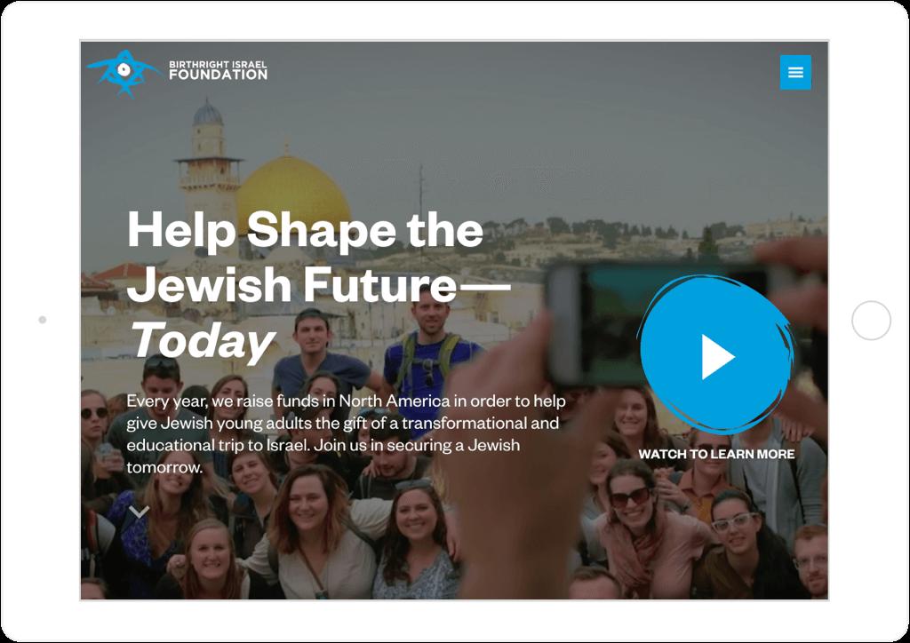 Birthright Israel Foundation Website Tablet View