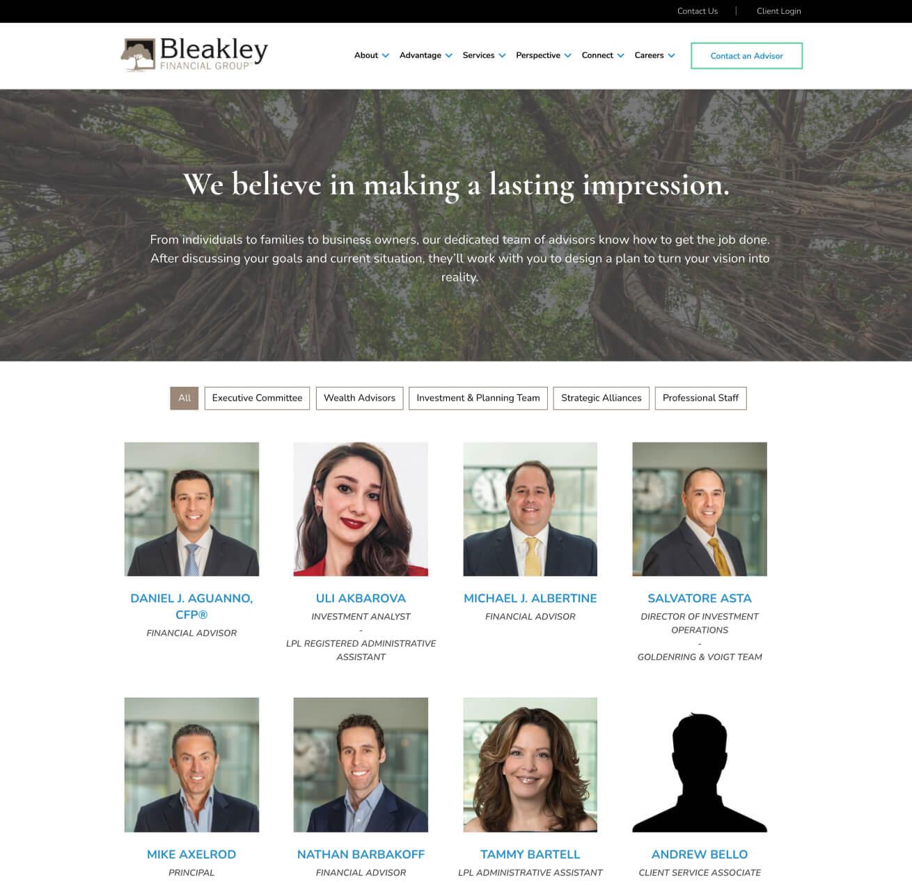 Bleakley Financial Employee Directory Page