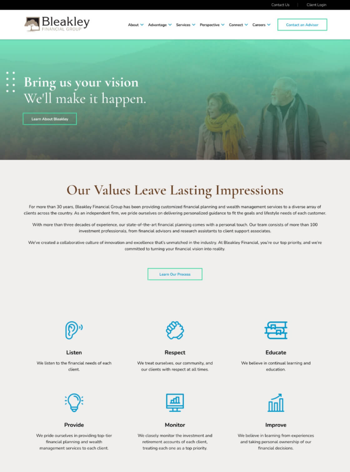 Bleakley Financial Website Desktop View
