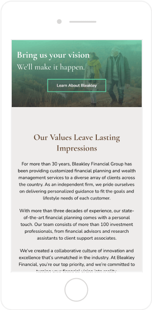 Bleakley Financial Website Mobile View