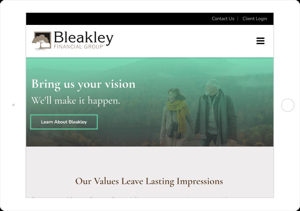 Bleakley Financial Website Tablet View
