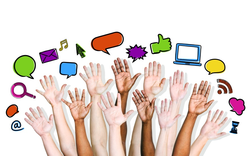 Raised hands depicting social media participation and engagement