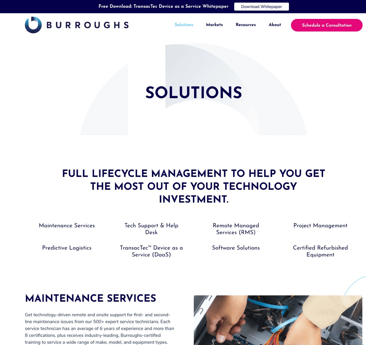 Burroughs Modern Website