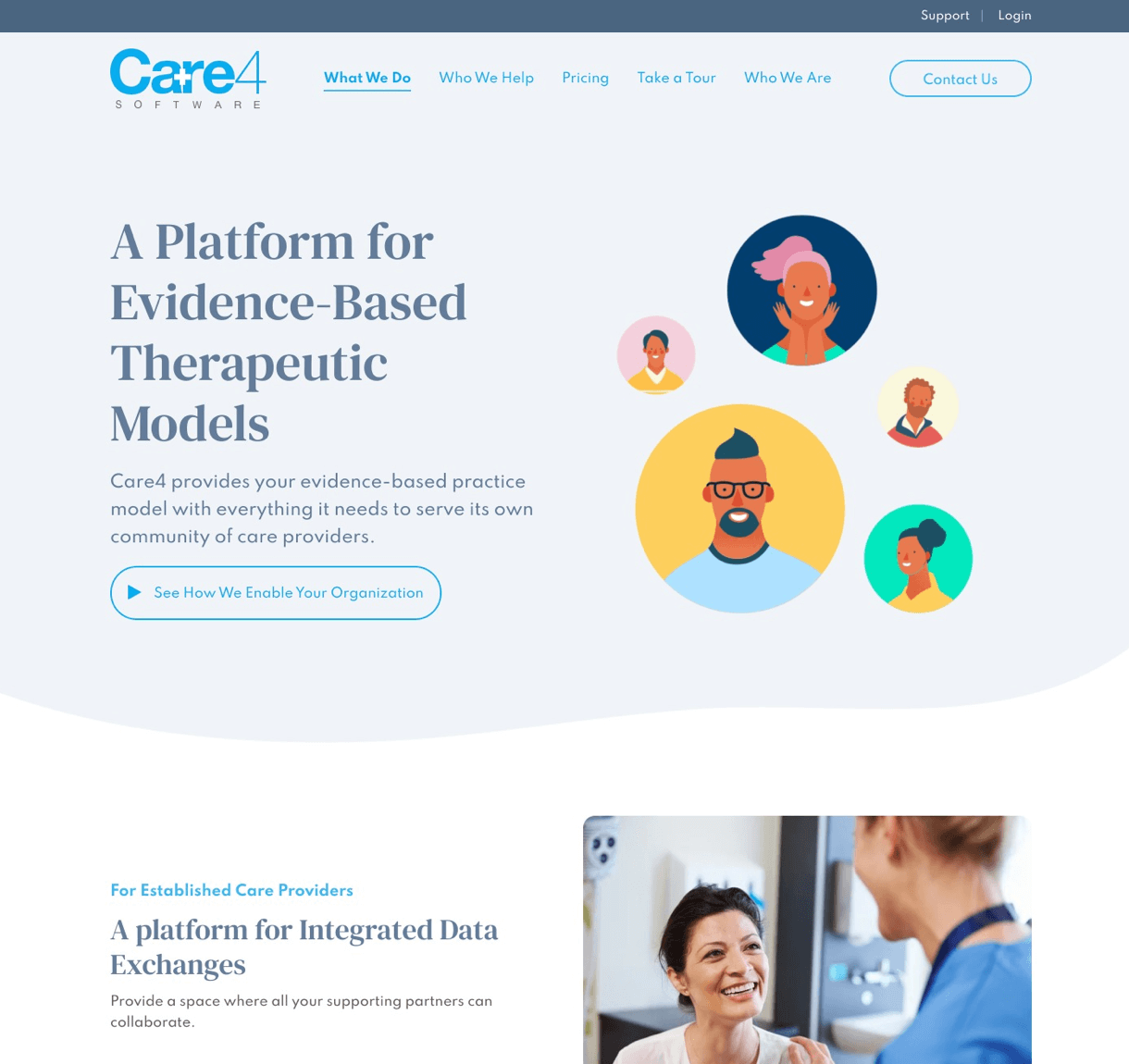 Care4Software Clean Layout Desktop View