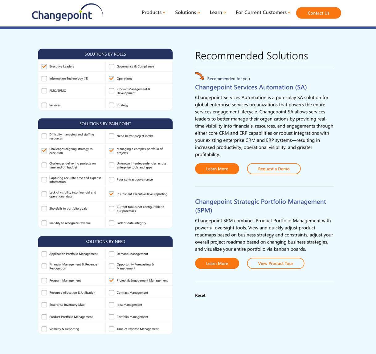 Changepoint search tool on desktop