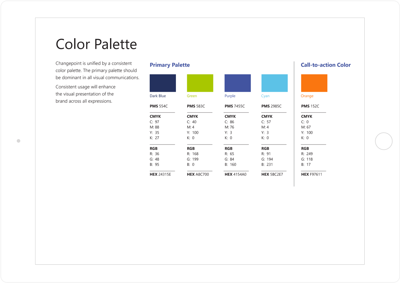 Changepoint color palette