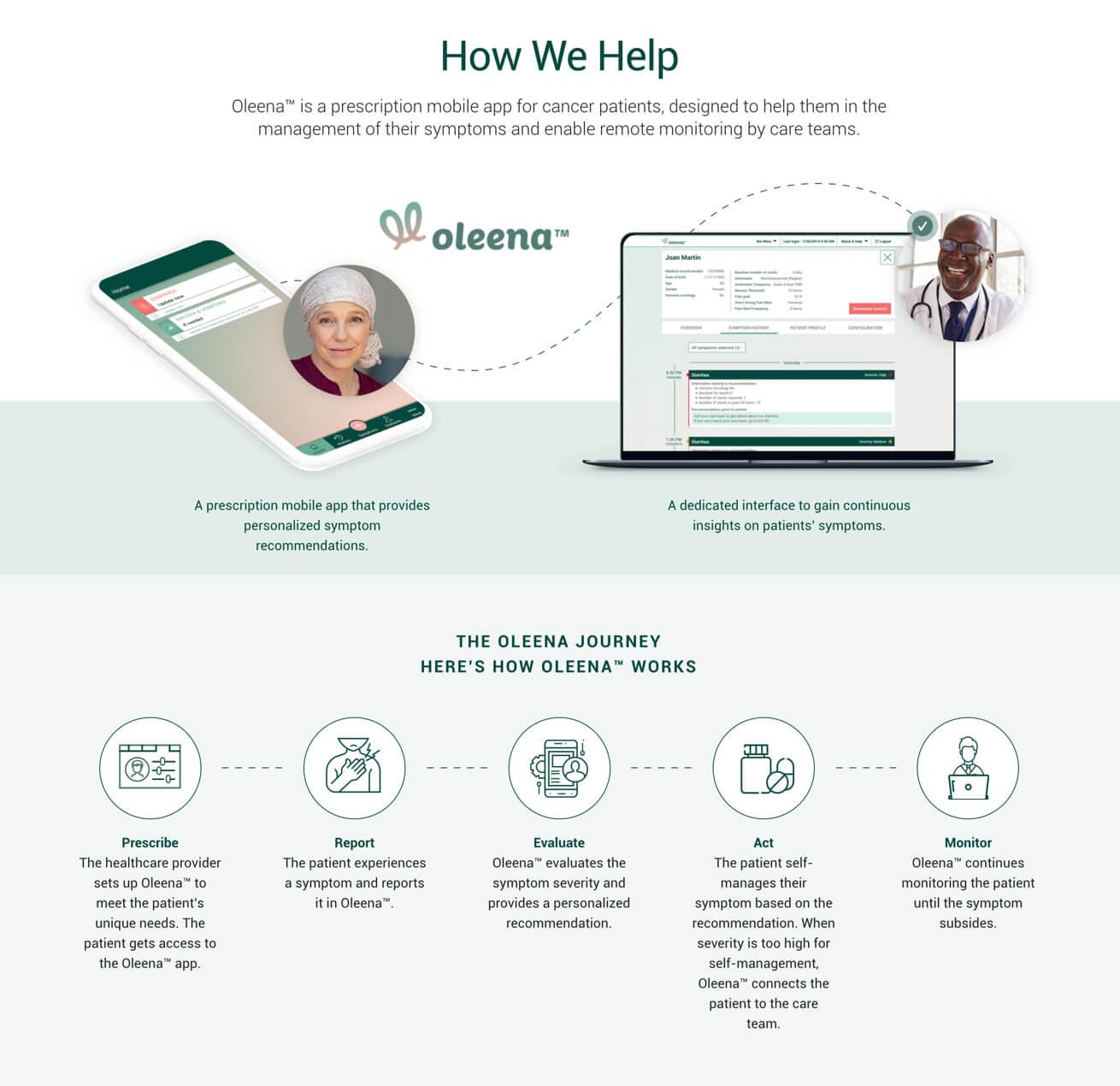 Oleena homepage on desktop