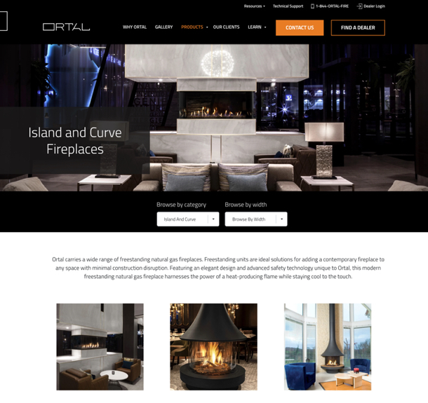 Ortal Heat website features and product gallerydesktop