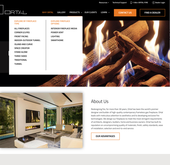 Ortal Heat website navigation desktop view