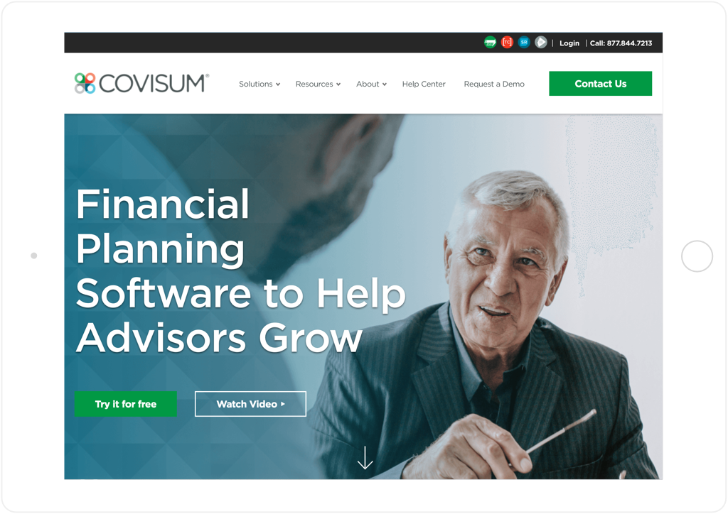 Covisum Website Tablet View