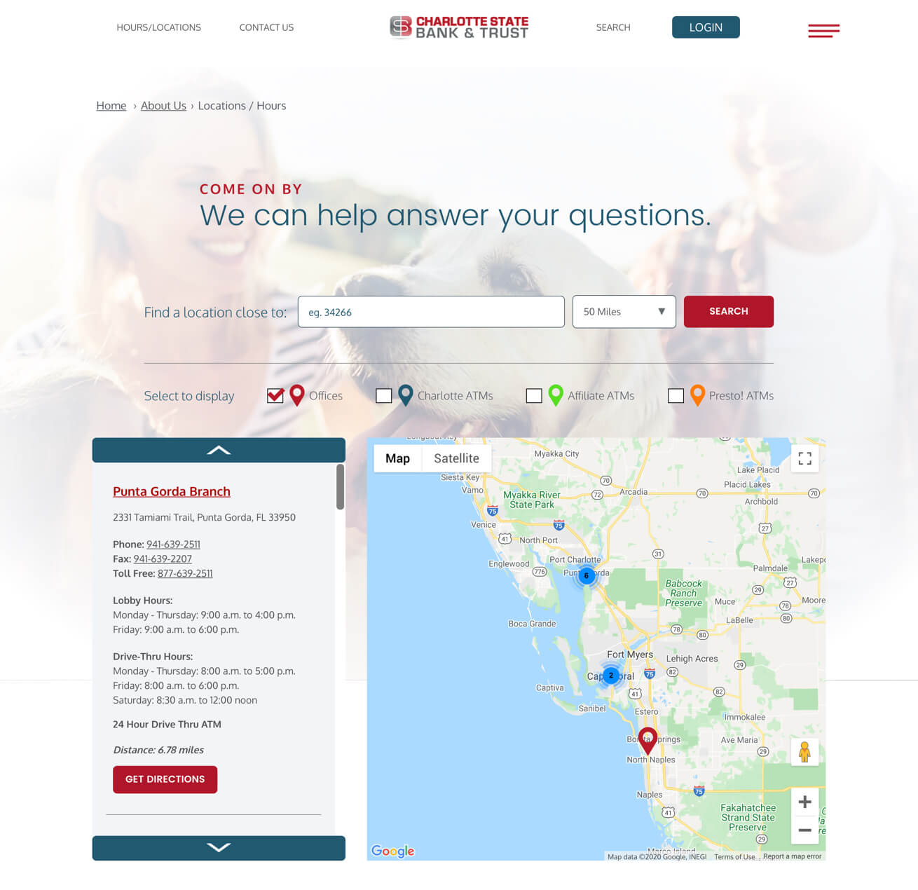 Crews Bank Corp Interactive Map Desktop View