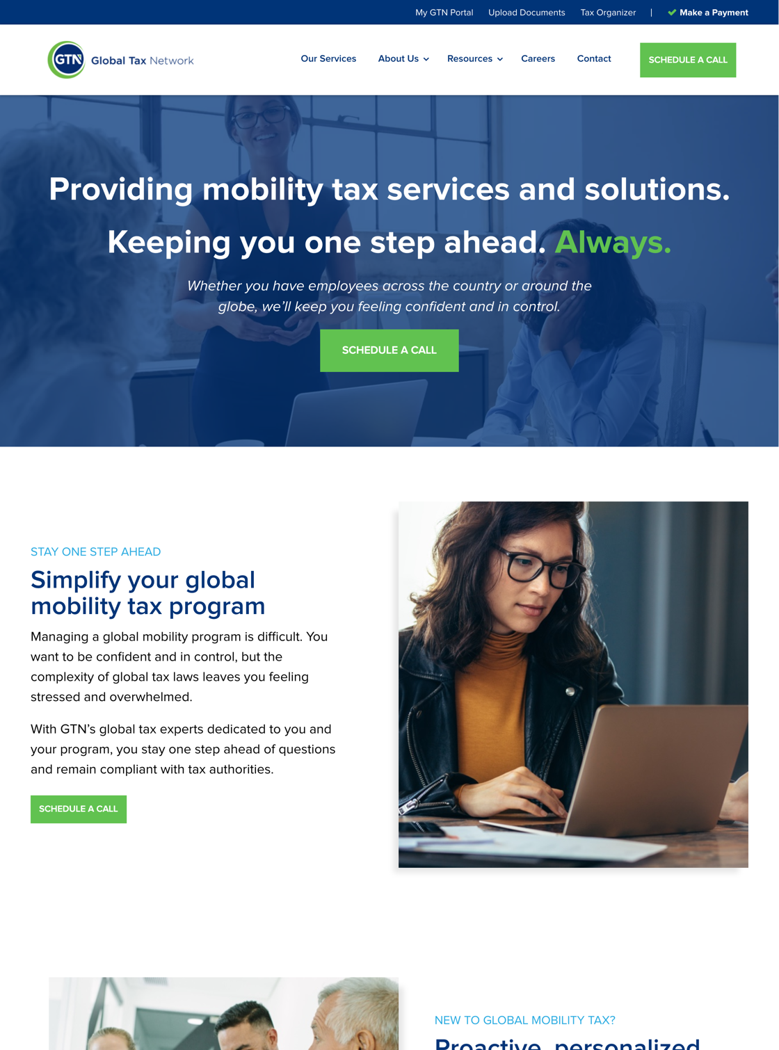 Global Tax Network website desktop view
