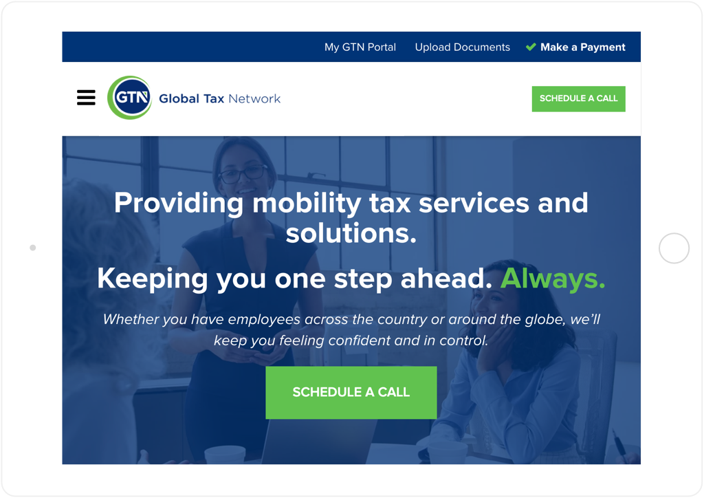Global Tax Network website tablet view