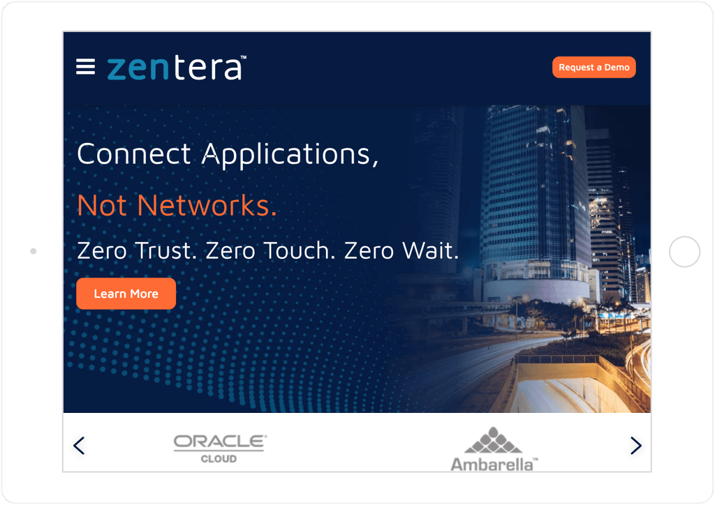 Zentera website on tablet