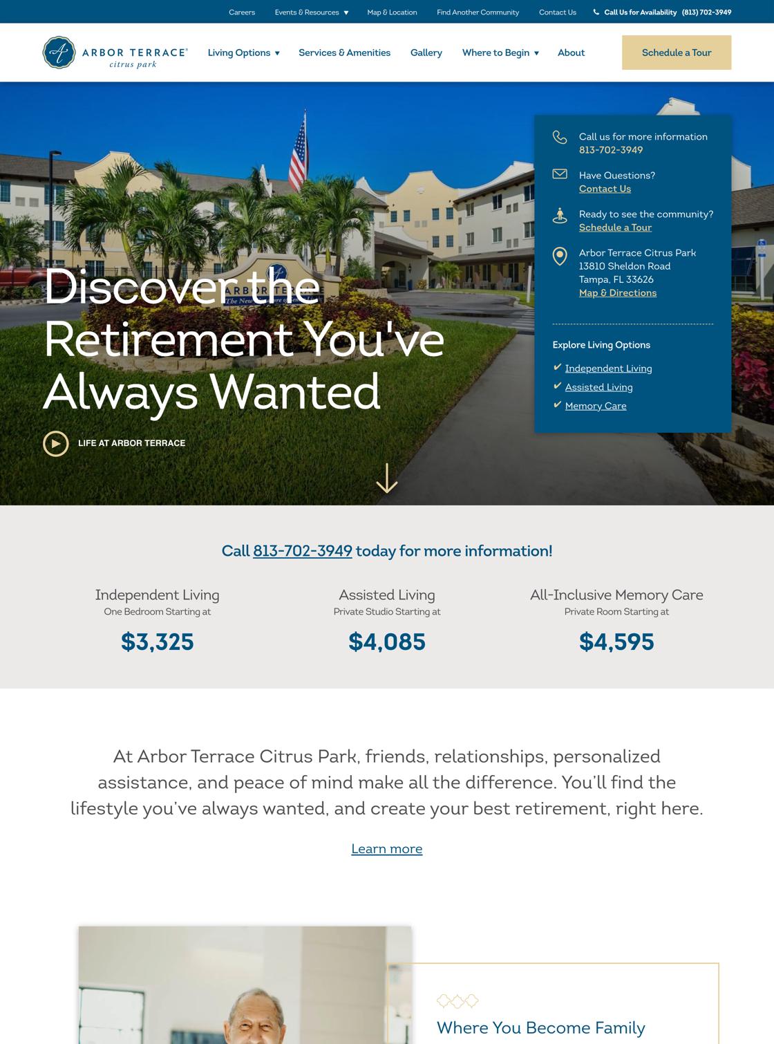 Arbor Citrus Park Website on Desktop
