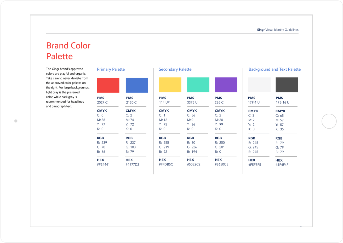 Gingr Color Palette