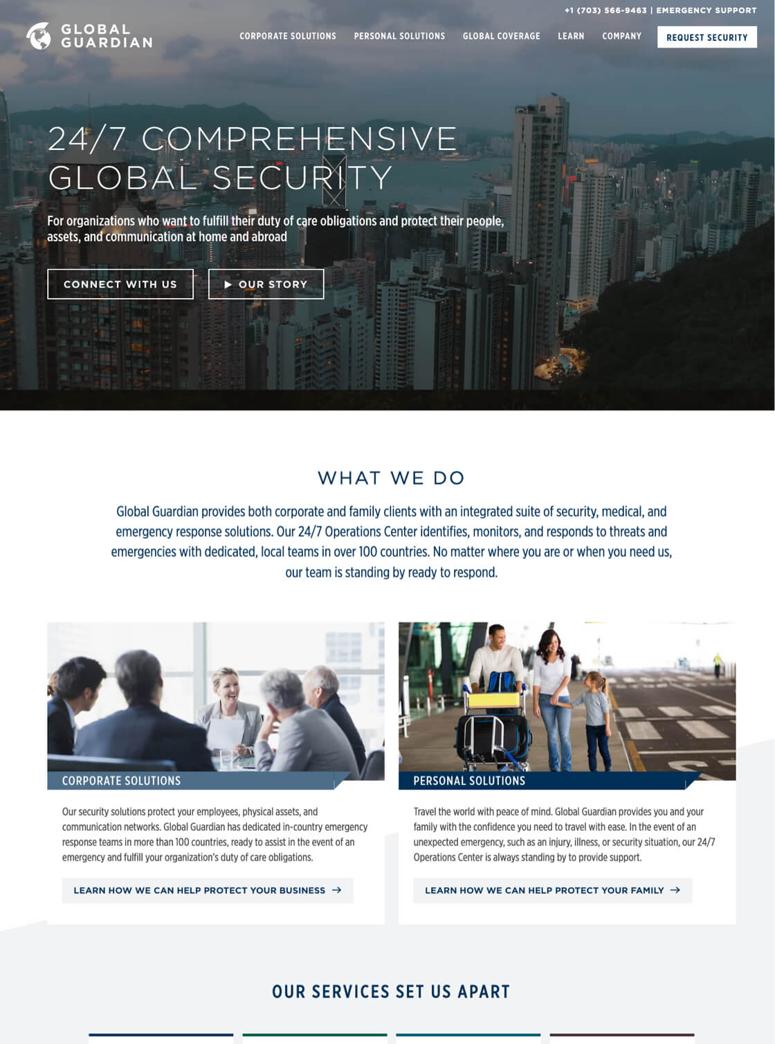 Global Guardian Website on Desktop