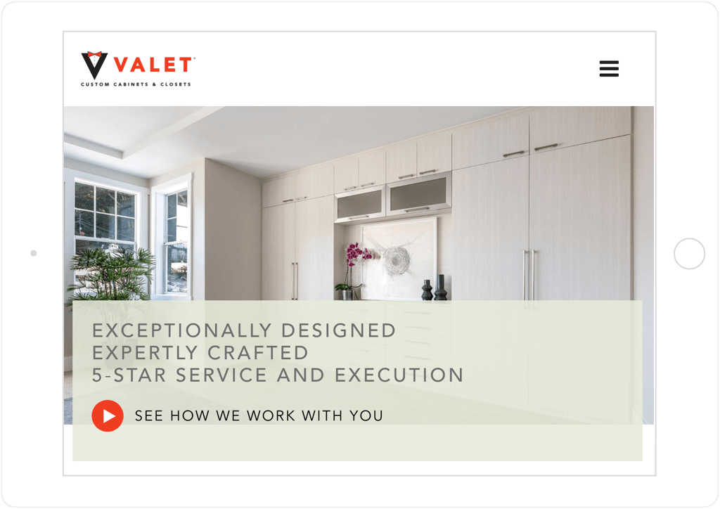 Valet Custom Website Tablet View