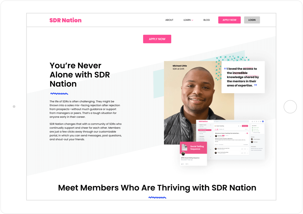 Interactive Homepage on SDR Nation