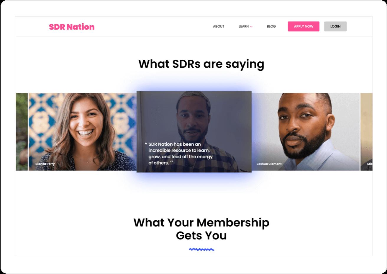 Social Proof on SDR Nation Website