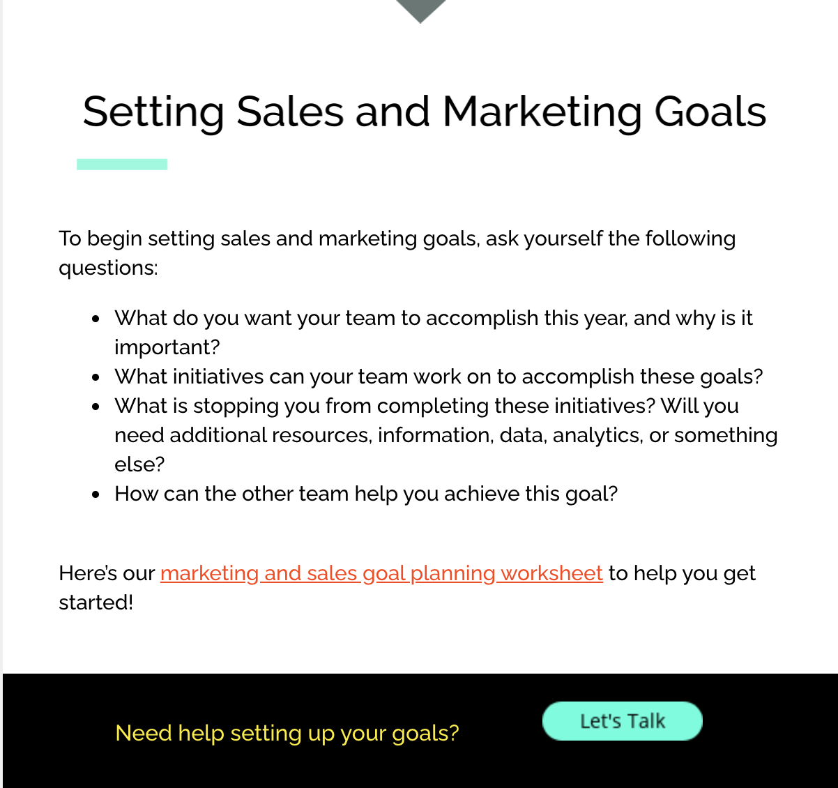 sales and marketing goals