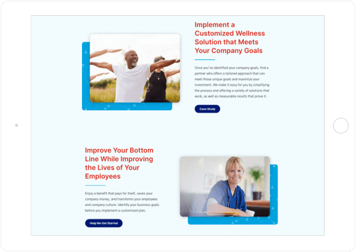 TargetCare Website Tablet View