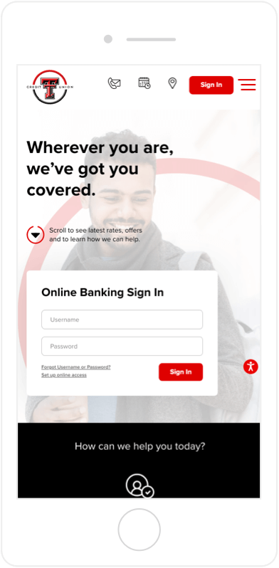 Login Feature on Texas Tech Credit Union on Mobile