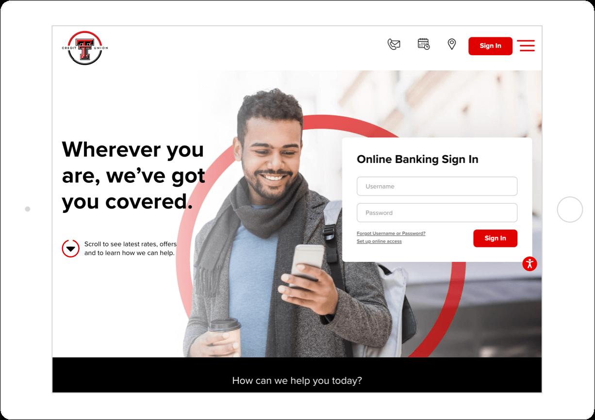 Login Feature on Texas Tech Credit Union Website