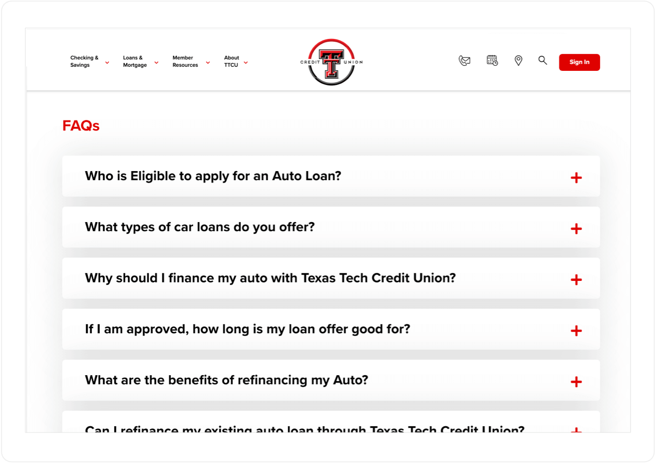 FAQ Section on Texas Tech Credit Union on Mobile
