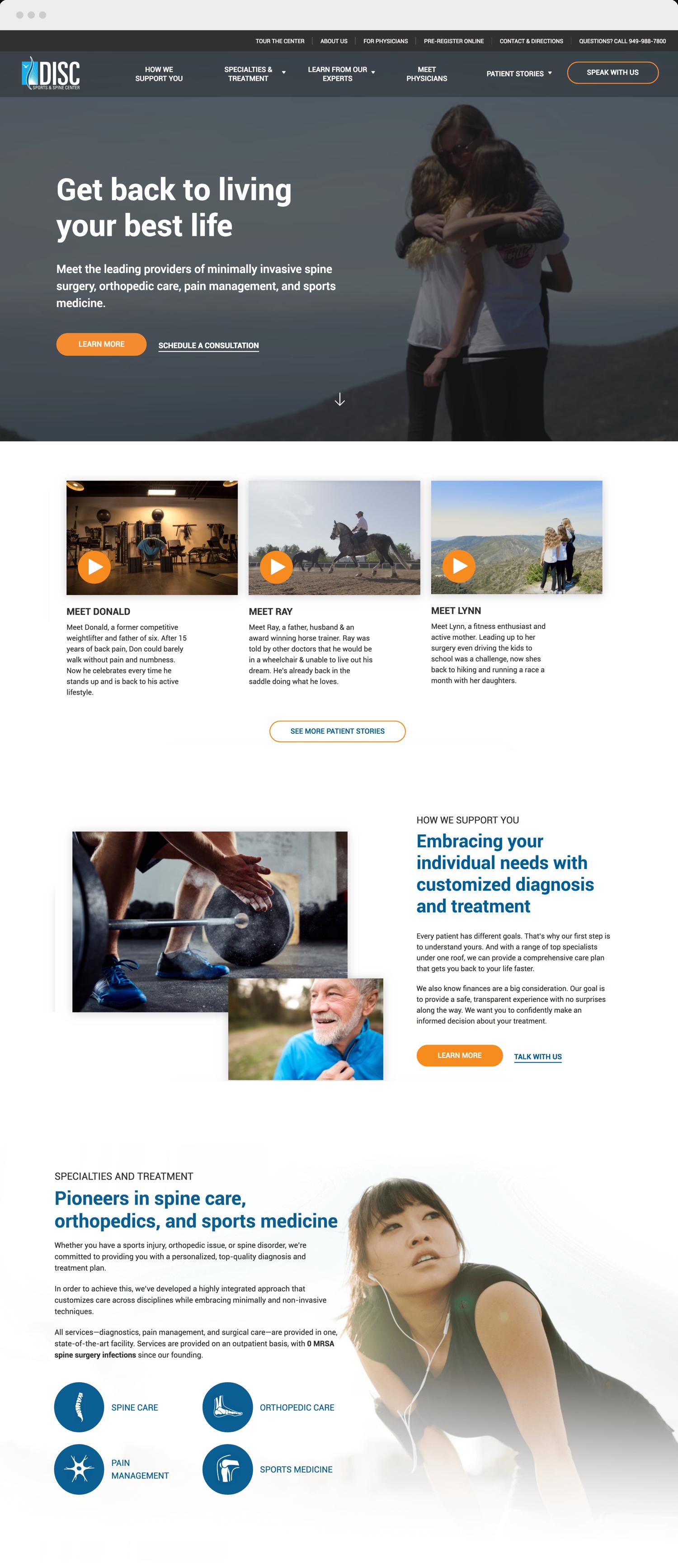 DISC home page website design