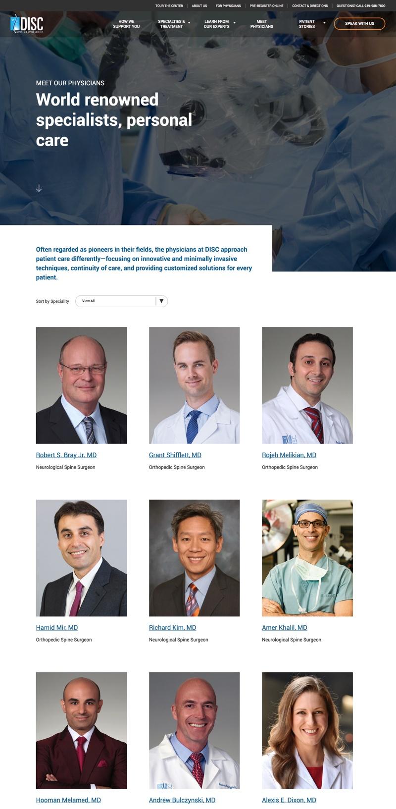 DISC web design showing medical professionals