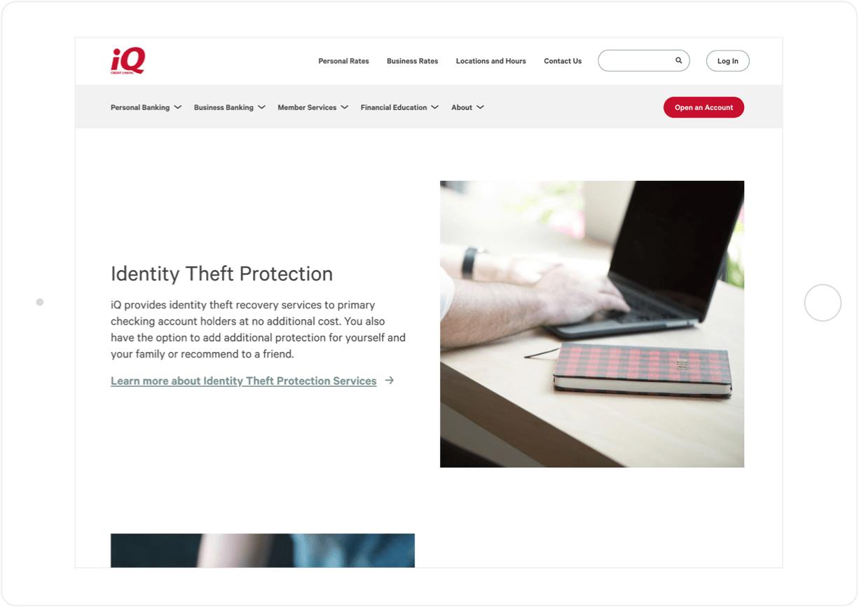 iQ Credit Union tablet
